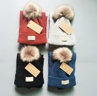 Wholesale blue fur scarf resale online - Kids Australia Pom Pom Hat Scarf Set Colors Knit Fur Pom Beanies Winter Warm Crochet Hats Scarves Girls Boys Outdoor Ski Hat set OOA5949