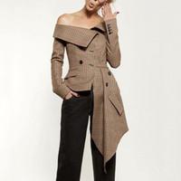 kahverengi uzun kollu paltolar toptan satış-2018 Yeni Sonbahar Kadın Blazers Coat Uzun Kollu Asimetrik Ekose Yeni Slash Boyun Lady Ofis Kahverengi Ceketler Coat Casual Kıyafetler