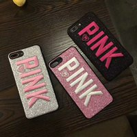 Wholesale huawei silicone 3d for sale - LOVE PINK Cover Case Glitter Soft Silicone Shell D Embroidery Shinny Pink Phone Cases for Samsung S9 S9Plus iPhone X Plus HUAWEI