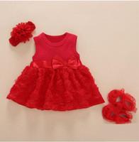 ensembles de vêtements pour bébés nouveau-nés achat en gros de-New Born Bébé Filles Dressclothes Été Enfants Fête D'anniversaire Tenues 1-2 Ans Chaussures Ensemble Robe De Baptême Bébé Jurk Zomer