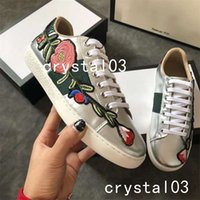 Wholesale Hunt Bow - Stylish Ace Leather Low-Top Lovers Sneakers Web Embroidered Floral and Bow Gold Silvery G20105 Watersnake-trimmed Blind 34 Luxury Brand
