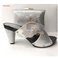 Wholesale matching shoe bag purple - New Fashion Silver Italian Matching Shoes With Bag Set For Evening Party African Women Sandal And Bag Set A1-17225