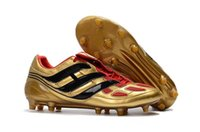 Wholesale precision flat - New Arrival Mens Football Shoes Gold Black Predator Precision FG Soccer Shoes Soccer Cleats Mania Champagne Precision