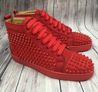 Wholesale leather shoes white sole - New Arrival Double Box High Top Casual Shoe Man Woman Sneaker White Red Sole Spikes Lace Up Fashion Unisex Shoes Rivets Size 35-46