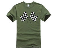 Wholesale track car racing online - 100 Cotton O neck printed T shirt Checkered Flags T Shirt Race Car Finish Win Game Track Pole