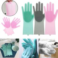 Wholesale garden tools online - 10 color Magic Silicone Gloves Cleaning Brush Scrubber Washing Gloves Rubber Heat Resistant Dishwashing Gloves Kitchen TOOL KKA6134