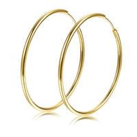 boucle d'oreille huggies achat en gros de-Boucles d'oreilles lisses pour femmes, filles, or jaune 18K, remplies de grandes boucles d'oreilles grand cercle Huggies (diamètre de 40 mm)