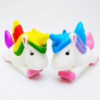 Wholesale foam novelties - High quality Squishy Novelty GAG TOYS Flying Jumbo Unicorn Pony Horse Kid Toys Squishy Slow Rising Cream PU Foam Decompression toys DHL Free