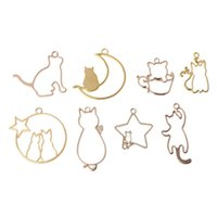 Wholesale pendant frames resale online - 8Pcs Cat On Moon Frame Pendant Bezel Setting Cabochon Setting UV Resin Charm mm