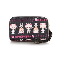 çanta çantası baskısı toptan satış-Moda Hediyeler Kadınlar Mini Naylon Çanta! Renkli Baskılı Çift fermuarlı Gün Manşonlar çanta Yönlü Naylon Flap mobilephone Taşıyıcı
