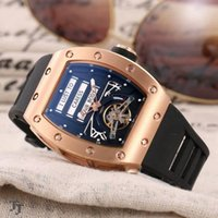 Wholesale top luxury watches brands list for sale - Group buy Top fashion fashion brand men s watch Ti automatic flywheel movement steel shell mineral glass natural rubber strap new listing