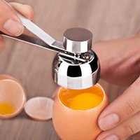 aço inoxidável em bruto venda por atacado-Ovo de aço inoxidável Topper Cutter Shell abridor de ovo cru aberto tesoura cozinha ovos ferramenta 50pcs AAA759