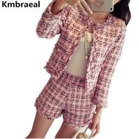 kore bayanlar kıyafetleri toptan satış-Kore Bayanlar Sonbahar Kış Tweed 2 Parça Set Kadınlar Vintage Ekose Ince Kısa Ceket Ceket Üst + Püskül Şort Iki Parçalı Set Suits