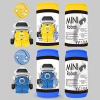 jogos elétricos para crianças venda por atacado-Brinquedos educativos Pai Criança Jogo de Música Caminhada Iluminai Crianças Latas de Plástico Brinquedo Modelo Elétrico Mini Robô 23xy hh