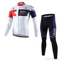 pantalones largos jersey mtb al por mayor-IAM KATUSHA equipo ciclismo mangas largas jersey (bib) establece juegos Ropa Ciclismo ropa de MTB de secado rápido ropa deportiva de moda C1405