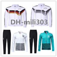 Wholesale Men Green Army Jacket - 2018 Germany jacket tracksuit 18 19 world cup germany Survetement Football Chandal MULLER OZIL Soccer zipper jacket Training suit kits