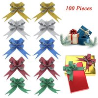 navidad tira arcos cinta al por mayor-100 UNIDS Glittering Pull Bows Tiras de cinta de tirón de regalo para la decoración de Navidad para el hogar Wrapping arcos de regalo de Navidad