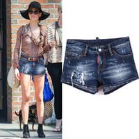 weibliches bleichmittel großhandel-2018 NEUE Sexy Denim Shorts Lady Damage Gemalte Wirkung Skinny Fit Bleach Wash Kurze Jeans Weibliche