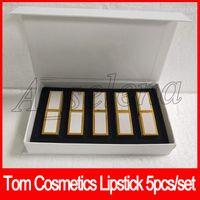 mejores cremas cosméticas al por mayor-2018 Tom Cosmetics Lipstick 5 colores kit de labios crema hidratante 5 unids / set marca famosa mejor calidad DHL envío gratis