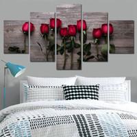 blumenbilder rosen rot großhandel-Wandkunst Rahmen 5 Stücke Schöne Rote Rosen Blumen Leinwand Bilder Modular Poster Wohnzimmer Home Decor HD Drucken Gemälde