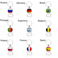 Wholesale Glass Souvenirs - Bottle Opener Key Chains Football Keyrings with Country Flags Beer EDC Souvenir Spain Portugal Russia Germany Soccer Fans Gift Wholesale