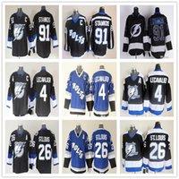ingrosso vendita delle baia-Calda maglietta da uomo Hockey su ghiaccio Tampa Bay Lightning 91 Steven Stamkos 26 Martin St. Louis 4 Lecavalier Prime Hockey Jersey Abbigliamento cucito