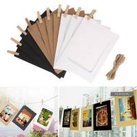 Wholesale Photo Clip Frames - 10pcs Combination Wall Photo Frame DIY Hanging Picture Album Party Wedding Decoration Paper Photo Frame with Rope Clips 3 4 5 6 7 Inch