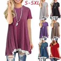 Wholesale Womens Plus Tunic - Womens Fashion Plus Size Casual Short Sleeve Lace Hem Scoop Neck A Line Cotton Tunic Blouse S-5XL