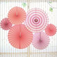 ingrosso una ruota dei bambini-Matrimonio Un set di ventagli di carta colorati Rotella a disco Rotondo Compleanno Per bambini Decorazione per feste Evento per la scuola materna Celebrazione Decorazione per la casa
