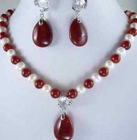 белый камень оптовых-Белый жемчуг и красный драгоценный камень ожерелье серьги Setfree доставка