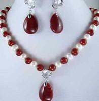 weiße edelsteine großhandel-Weiße Perle und roter Edelstein Halskette Ohrring Setfree Versand