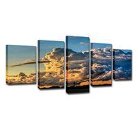 chovendo pinturas venda por atacado-Pinturas de lona Sala HD Prints Poster 5 Peças Storm Rain Clouds Sunset Tornadoes Fotos Wall Art Home Decor