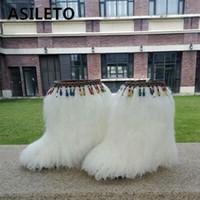 botas de plumas de invierno al por mayor-ASILETO Botas de invierno para mujer zapatos de mujer Genuino Real peludo botines mujeres Feather furry Fur botines calientes al aire libre T554