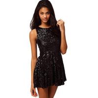 sırtsız siyah kokteyl elbiseleri toptan satış-Blingbling Siyah Payetli Kısa Mezuniyet Elbiseleri 2018 Seksi Backless Mini Mezuniyet Balo Kokteyl Elbise Balo Parti Elbise Kadınlar için Giymek