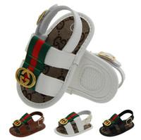 ingrosso sandali estivi per ragazzi-Scarpe estive per bambini PU Scarpe per bambini appena nate Cartone animato per prime camminatore Scarpe antiscivolo per bambini