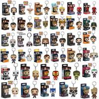 figurinhas de super heróis venda por atacado-Funko pop marvel super os vingadores hero harley quinn deadpool goku harry potter spiderman joker jogo dos tronos estatuetas de brinquedo chaveiro