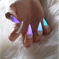 nagellack helle farben großhandel-10 Neonfarben Helles Nagellackpulver Leuchtender Staub Leuchtendes Pigment Nachtleuchtendes fluoreszierendes Nagellackpulver