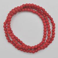 rote howlite perlen großhandel-4MM Red Howlith Stein Perlen Armband Armreif Halskette Stretch 22 Zoll Schmuck G744