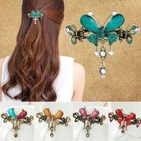 ingrosso tiara di goccia di fiori-Luxury Retro Vintage Women Girl Crystal Butterfly Bow Flower Forcine Corte Drop Barrettes Tiara Clip di capelli Accessori per capelli