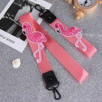 цепочка кошелек телефон дела оптовых-1pc new Pink Ribbon Flamingo Lanyard Key Chain Keyring Women Hanging Neck Phone Case Bag Purse Handbag Holder Key Chain