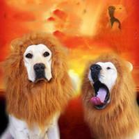 manes do leão para cães venda por atacado-Enfeites de cabelo Pet Costume Cat Halloween Roupas Fancy Dress Up Lion Juba peruca para cães grandes