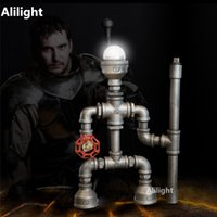 Wholesale Robot Table Lamp - Creative Robot Water Pipe Desk Lamp Vintage Table Lamps Night Lighting Light for Bedroom Living Room LED Beside Lamp Decor light