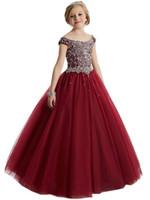 ingrosso ragazza di fiore veste il vino rosso-La ragazza di fiore rossa del vino di riserva veste l'abito di cristallo convenzionale di spettacolo di compleanno della principessa