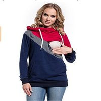 Wholesale Nursing T Shirts - Plus Size Pregnancy Nursing Long Sleeves Maternity Clothes Hooded Breastfeeding Tops Patchwork T-shirt for Pregnant Women