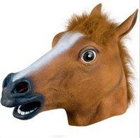 disfraces de navidad espeluznante al por mayor-Regalo de Navidad máscara de Halloween Creepy Horse Mask Head Disfraz de Teatro de Teatro Novedad Látex Látex buen artículo