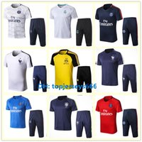 Wholesale Men S Training Pants - France Brasil Summer soccer Tracksuit Short sleeve 3 4 pants 17-18-19 NEYMAR JR MBAPPE PULISIC Real Madrid football Training suit
