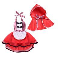 ingrosso vestito rosso plaid del bambino-Neonate Vestire Abiti Natale Abito con mantelle Nuova moda gonna scozzese Little Red Hat Due pezzi per bambine