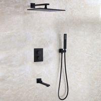 Wholesale Square Tap Set - DULABRAHE Blacken Bathroom Shower Faucet Set 12 Inch Rainfall Bathroom Shower Head Bath Shower Mixer Tap