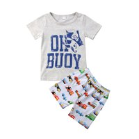 çocuklar spor arabaları toptan satış-2018 bebek çocuk boys giyim karikatür gri T-shirt + arabalar şort 2 adet Set kıyafet giyim erkek bebek rahat spor toddler yaz butik 1-6Y