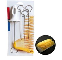 cortador de papas tornado al por mayor-Tornado Patata Spiral Cutter Manual vegetable Slicer Spiral French Fry Cutter Patata Torre Making Twist Shredder Herramientas de cocina 200Pcs